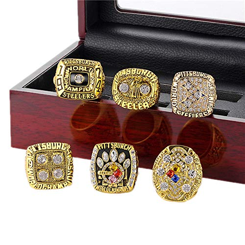 Gloral HIF 6 Pcs Set Pittsburgh Steelers Championship Ring Football Super Bowl Championship Ring Gold with Box ()