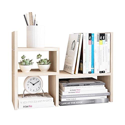 Tone Square Design (Hello Laura - Desk Shelves Office Supplies Organizer Storage - Square Frame Design - Free Standing Desktop Shelf | White Wood Tone)