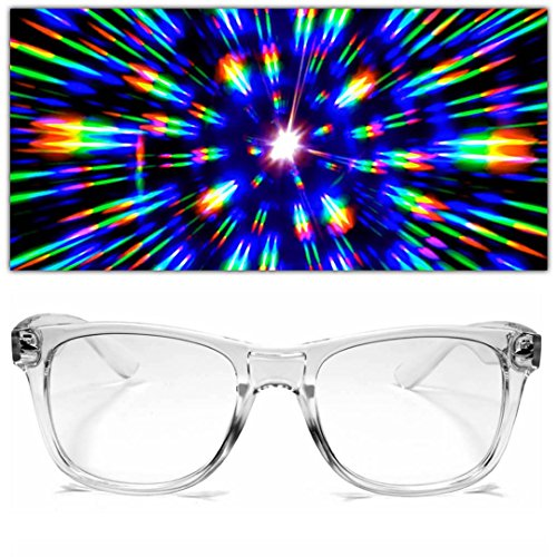 GloFX Ultimate Diffraction Firework Glasses - Clear Prism Light Diffracting by GloFX