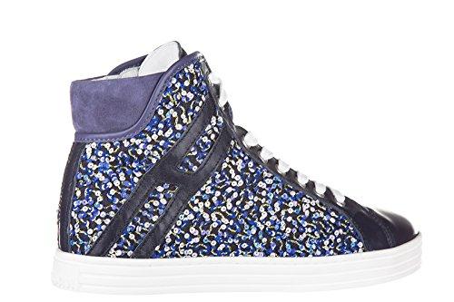 Hogan Rebel chaussures baskets sneakers hautes femme en cuir r182 polacco violet