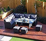 9 Seater Rattan Corner Garden Sofa & Dining Set Furniture Black Brown Dark MixedGrey Protective Cover Included (Black with Dark Cushions)