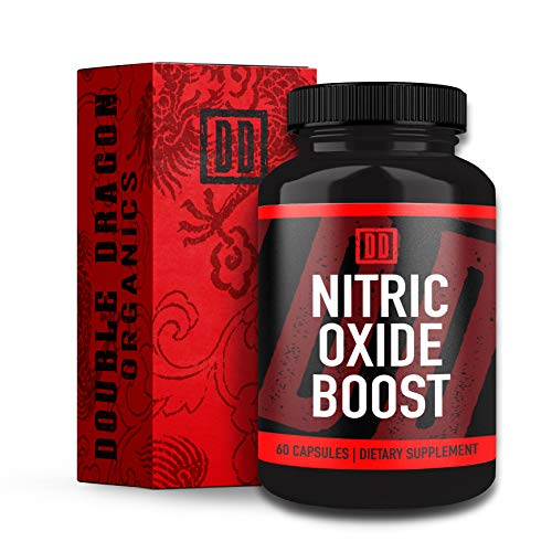 Nitric Oxide Booster Supplement – 1600mg Extra Strength L-Arginine, Citrulline Malate, and Alpha-Ketoglutarate for Muscle Growth, Vascularity & Energy – Double Dragon Organics (60 Caps)