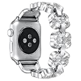 Fastgo for Apple Watch Band 38mm with Rhinestone Luxury Bing Diamond Released in May 2018 for Women Girls, Handmade Glitter Bling Stylish Adjustable Iwatch Replacement Band (Clover-Silver-38mm)