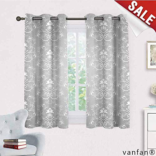 LQQBSTORAGE Damask,Window Curtain Fabric,Damask Style Antique Floral Motifs Pattern Royal Victorian Design Vintage Leaves,Rod Pocket Curtain Panels for Bedroom & Living Room,Gray and White