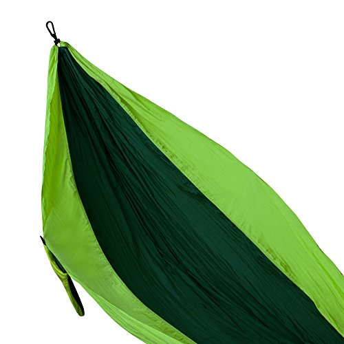 FiveJoy Double Parachute Hammock (Army Green/Apple Green) – 110″ (L) X 75″(W) – Up to 440lbs Weight Capacity – Hold Two Persons Comfortably and Safely