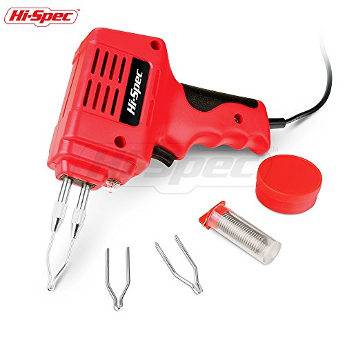 Hi-Spec 0.8A Heavy Duty Soldering Gun Set with 900°F Max Temp Great for Plumbing, Electronics, Circuit Boards, Crafting, Automotive, Metalwork & Industrial Applications Soldering Gun Kit