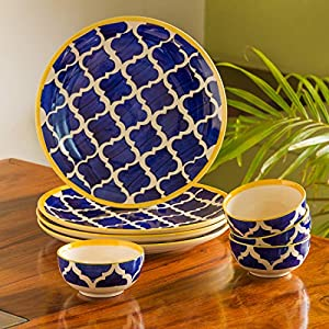 ExclusiveLane 'Moroccan Handpainted' Ceramic Plates for Dinner Ceramic Dinner Plates with Katoris (8 Pieces, Serving for…