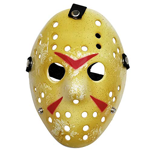 ZLIXING 2 Pieces Jason Mask Scary Halloween Costume Voorhees Hockey Mask for Friday The 13th Horror Cosplay Party Yellow