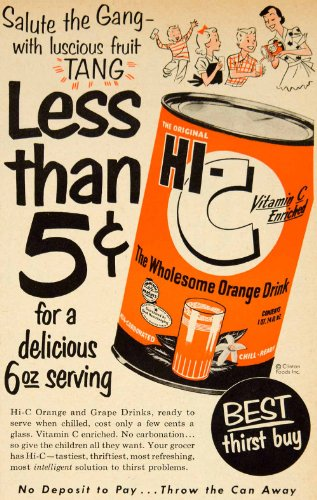 1953 Ad Clinton Foods Hi-C Orange Juice Drink Mix Beverage Grocery Citrus Fruit - Original Print Ad from PeriodPaper LLC-Collectible Original Print Archive