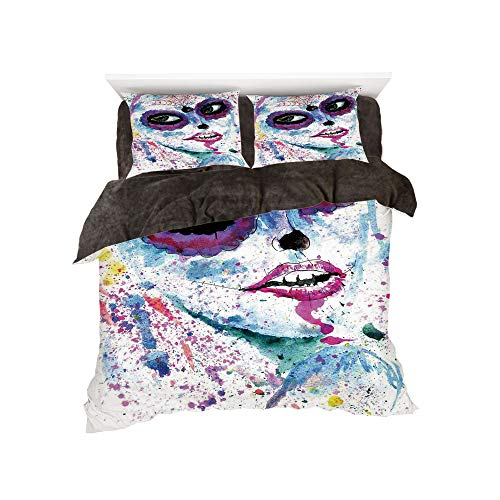 Flannel Duvet Cover Set 4-Piece Suit Warm Bedding Sets Quilt Cover for bed width 5ft Pattern by,Girls,Grunge Halloween Lady with Sugar Skull Make Up Creepy Dead Face Gothic Woman Artsy,Blue Purple for $<!--$139.88-->