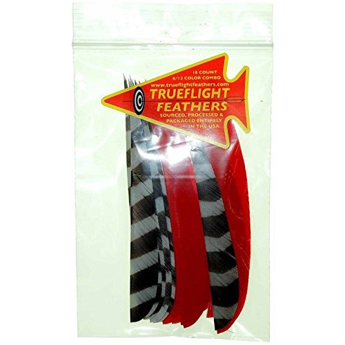 Trueflight Barred LW Shield Cut Feather Combo Pack, Red, 5