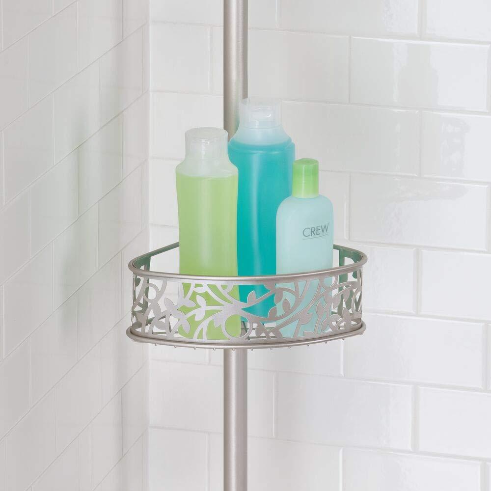 Estanter/ía telesc/ópica sin taladro para el ba/ño Elegante organizador de ducha para champ/ú mDesign Estanter/ía de ducha rinconera de metal acondicionador etc Con dise/ño floral plate