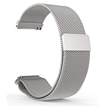 BlueBeach® 22mm Milanese Mesh Stainless Steel Watch Strap Bracelet Replacement with Magnetic Lock for Pebble Time / Motorola 360 2nd Gen / Samsung Gear 2 R380 R381 R382 / LG G Watch W100 / LG G Watch R W110 / LG Watch Urbane W150 / Asus ZenWatch / Asus Vivowatch (Silver)