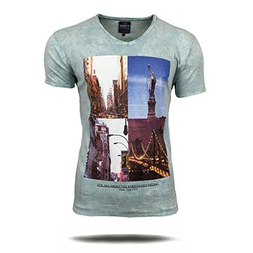 Polo T-Shirt Shirt Herren New York Amerika bedruckt Motiv Kurzarm A16734 Avroni, Größe:L, Farbe:Mint