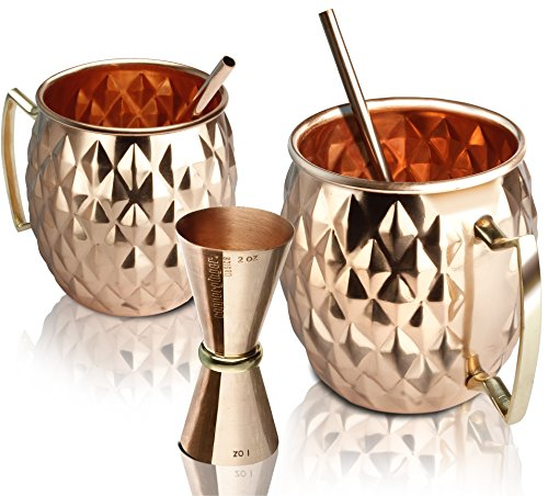 Premium Moscow Mule Copper Mugs Set of 2 (16 oz) - Superior Quality - Authentic - Handmade - Hammered - Handcrafted - 100% Pure Solid Copper Mugs Gift Set - Bonus: 1 Copper Jigger + 2 Copper Straws by Copperginger