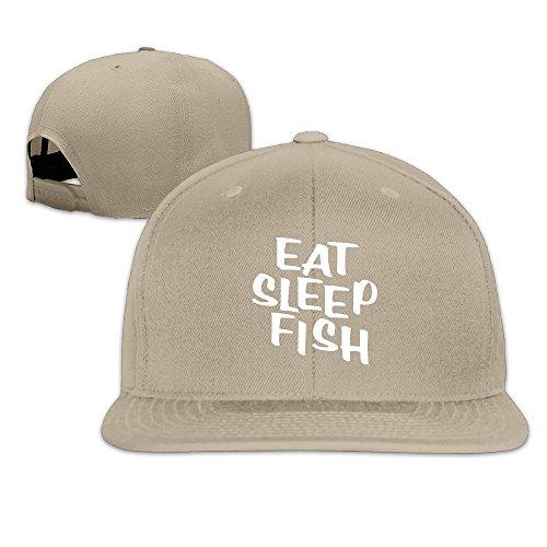 BASEE Eat Sleep Fish Fishing Adjustable Flat Along Baseball Cap Natural ()
