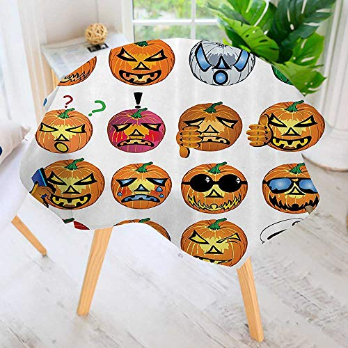 Philiphome Table Decoration Durable-Carved Pumpkin with Emoji ces Halloween Humor Hipster Msters Harvest for Home Kitchen Dining roomWaterproof Coffee Tablecloth 35.5