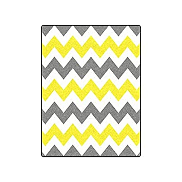 079b700d5e Gray and White Yellow Chevron Stripe Pattern Warmer Winter Fleece Throw  Plush Blanket 50 quot  x