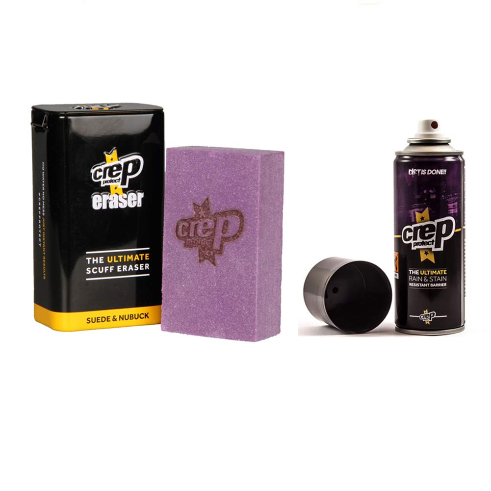 Crep Protect Suede and Nubuck Shoe Care Kit Includes the Rain & Stain Resistant Barrier Spray and Eraser.