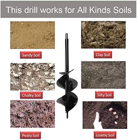 """Auger Drill Bit 3x12inch Garden Solid Barrel Dual-Blades Plant Flower Bulb Auger Spiral Hole Drill Rapid Planter Earth Post Umbrella Hole Digger for Most 3/8"""" Hex Drive Drill Works for Any Kinds Soils"""