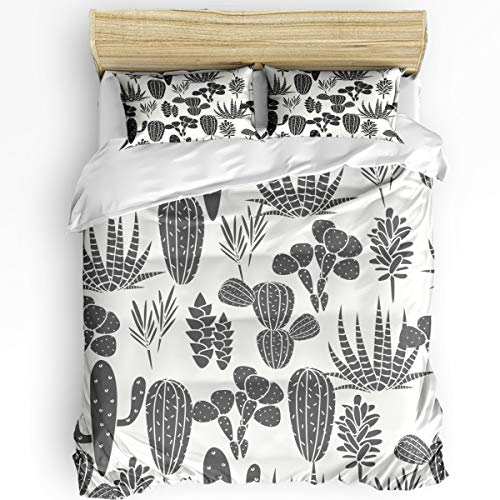 Cactus 3 Piece Bedding Set Comforter Cover King Size, A Collection of Cacti Plant Silhouettes Greyscale Succulent Desert Flora, Duvet Cover Set with Zipper Closure for Childrens/Kids/Teens/Adults