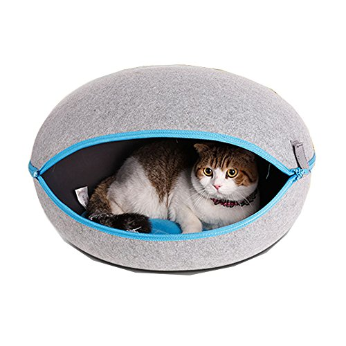 Egg Shape Detachable Pet Kennel House Washable Puppy Dog Cat Home Bed (Grey) For Sale