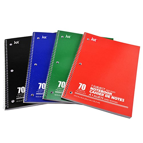 JOT One Subject, Wirebound Notebook, 70 Pages, Wide Ruled, 4 Colored Pack