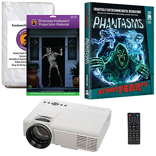 Halloween Window Projection Kit Includes 1200 Lumen Projector, 2 High Resolution Projection Screens (R/D) and AtmosFEARFx Phantasms on DVD -