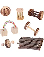 Opaltool Hamster kauwspeelgoed, natuurlijke houten dennenhalters oefening Bell Roller tanden zorg molaire speelgoed voor kleine dieren cavia ratten chinchilla's konijnen vogels