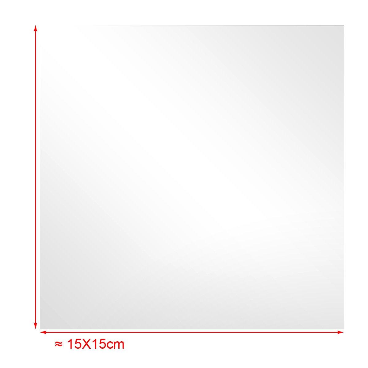 SurePromise Specchio MTB Adesivo da Parete,32 Pezzi Adesivi Murali Specchio Quadrato,Quadrato Decorazione per Parete Muro Casa Armadio,Mosaico di piastrelle,15cm x 15cm