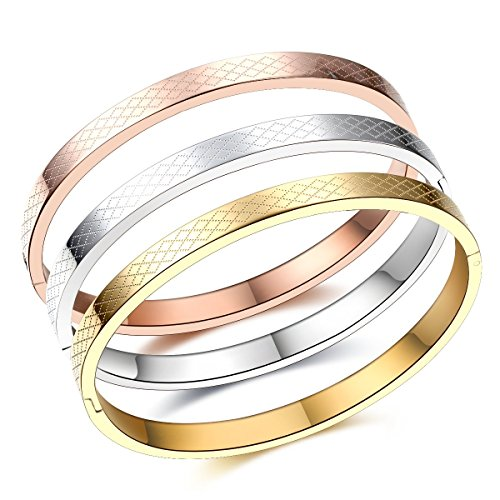 (Carffany Oval High Polished Stainless Steel Bangle Bracelet Tri Color Rose Gold Tone/Gold Tone/White Silver Tone 7.5 Inches for Women Men Unisex (3 Set))