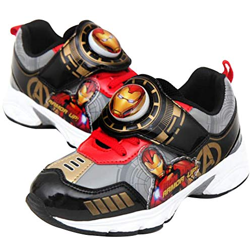 Joah Store Avengers Iron-Man Light Up Shoes for Boys Gold Black Comfy Sneakers (Toddler/Little Kid) (12 M US Little Kid, Iron-Man-C)