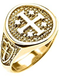 10k Yellow Gold Knights Templar Shield Crusader Band Jerusalem Cross Ring For Men