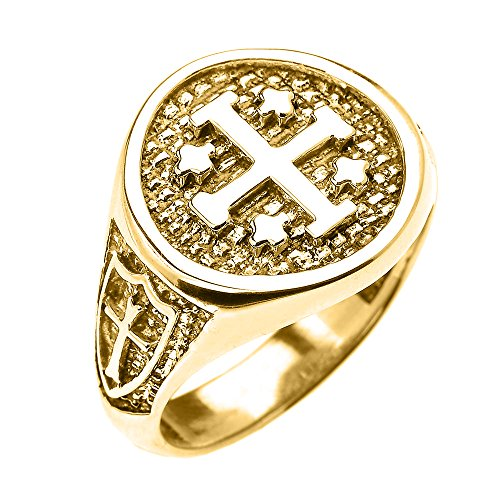 14k Yellow Gold Knights Templar Shield Crusader Band Jerusalem Cross Ring for Men (Size 13)