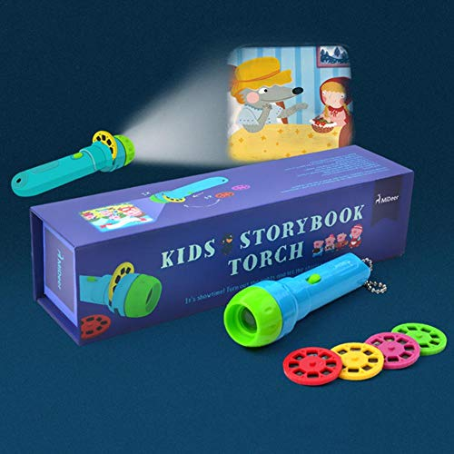 Kids Picture Projector Flashlight Bedtime Animal Storybook Torch for Baby Toddlers,4 Themes