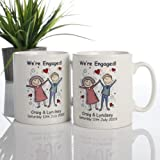 On Your Engagement Mugs - Personalised with any names and message Pair