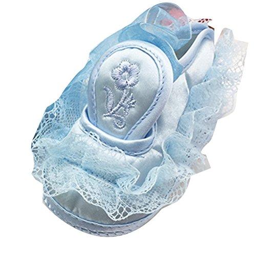 Zhhlinyuan Hot Lovely Bebé Girls Lace Antiskid Shoes Comfortable Princess Shoes Blue