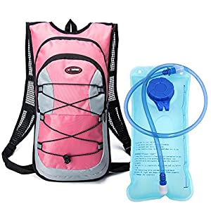 Monvecle Hydration Pack Water Rucksack Backpack Bladder Bag Cycling Bicycle Bike/Hiking Climbing Pouch + 2L Hydration Bladder Pink