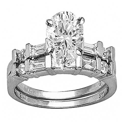 1.5 Ctw Pear Cut Channel Set Baguette And Round 14K White Gold Diamond Wedding Set (H-I Color SI2-I1 Clarity 0.75 Ct - Baguette Ct 0.75 Diamond