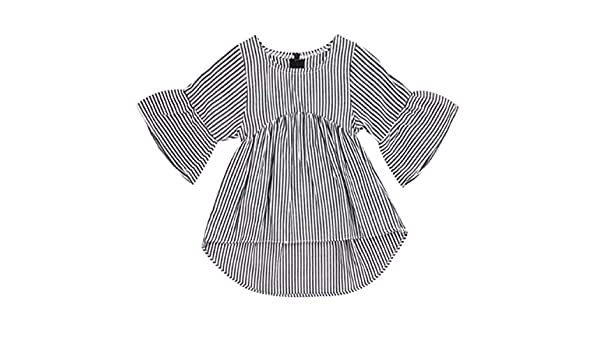 Styles I Love Baby Toddler Girls Black and White Striped High Low Ruffle Cotton Blouse Casual Top 6-24M
