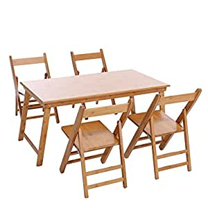 UNICOO - Bamboo Rectangular Folding Table with 4 Folding Chairs, 5 Piece Kids Table and Chair Set, Children's Art Craft Study Activity Table, Picnic Table, and Entertainment Table. • (5 Piece Set)