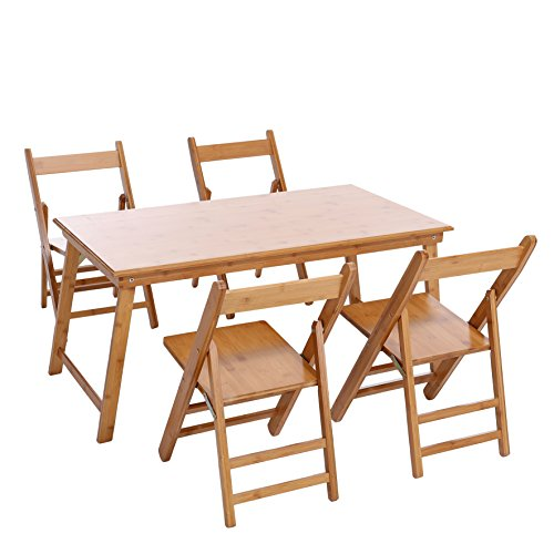UNICOO - Bamboo Rectangular Folding Table with 4 Folding Chairs, 5 Piece Kids Table and Chair Set, Children's Art Craft Study Activity Table, Picnic Table, and Entertainment Table. (5 Pieces Set)