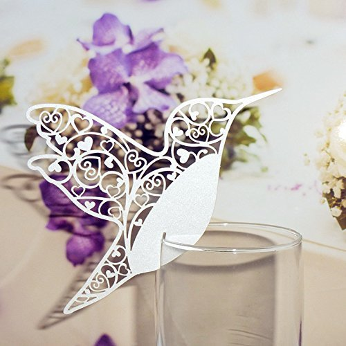 Patty Wedding Table Paper Place Card Escort Name Card Wine Glass Card for Wedding Party Decoration-50 Pcs (Bird White)