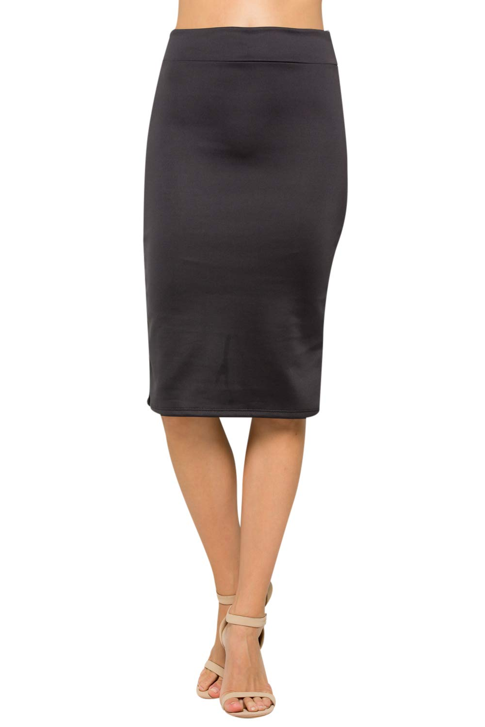 Junky Closet Women's High Waist Stretchy Office Pencil Skirt (Made in USA) (Large, S2936QQBU Charcoal) by Junky Closet