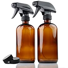 Premium Quality 2-Pack Amber 16 Oz Glass Spray Bottles By Chefland – Water, Body, Hair, Essential Oils, Cleaner, Cosmetics Sprayer W/ 2 Storage Caps & Stream/Spray Modes – Refillable / Squeeze Trigger