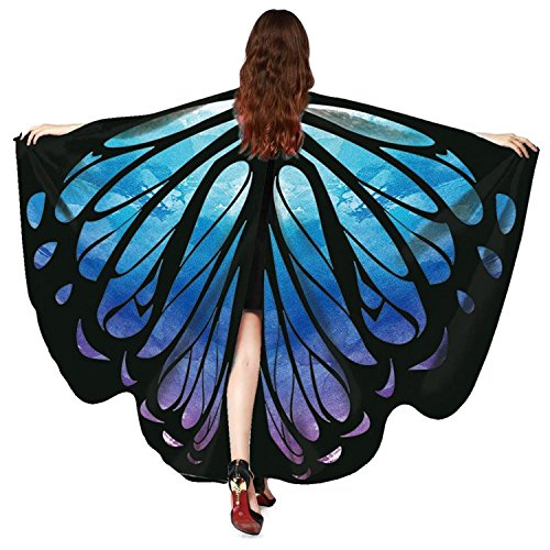 Women Butterfly Wings Cape Shawl Costume Mask for Ladies Halloween Dress Up Party (Navy -