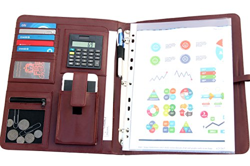 Ray Bran Executive 16GB USB Padfolio With LED Pen, Solar Calculator, 3 Ring Binder, & Durable Faux Leather Storage Pockets