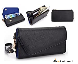 [Urban] Universal Phone Cover Women's Wallet Wrist-let fits Nokia C5-03 - BLACK & SAPPHIRE BLUE