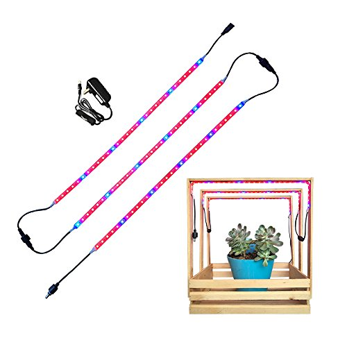Elite LED Plant Grow Light Strips Set of 3 (1.64 ft Each) IP65 Waterproof, with On/Off Switch Power Adapter, Flexible Soft Plant Grow Bar Light, Perfect for Indoor Plants, Seed Starting, Veg Growing by ELITE