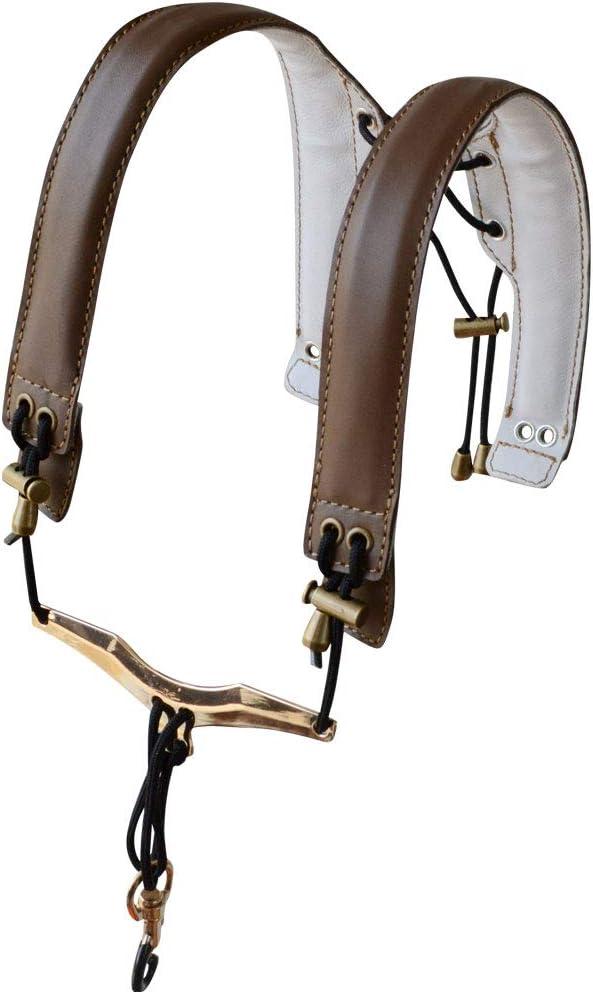 ADORENCE Lengthened Saxophone Shoulder Strap - Genuine Leather, 100% Handmade, No Stress on Neck Shoulder Strap for Sax Bass Tenor Alto